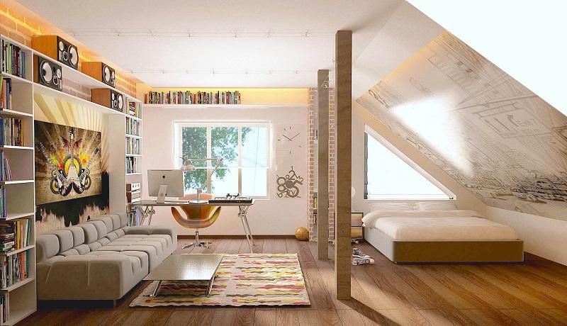 Interior Of The Apartment In The Attic Floor